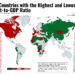 30 Countries with the Highest and Lowest Debt-to-GDP Ratio